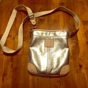Coach Crossbody Silver Metallic